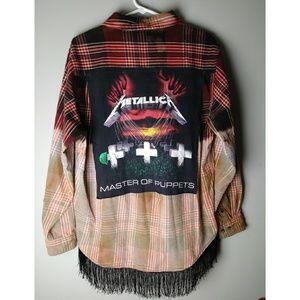 Custom bleached Metallica flannel